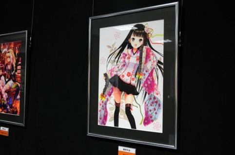 こんな感じの萌え系イラストが多数展示されてます、こちらは題名「さくら着物」ヾ(*´∀`*)ノ